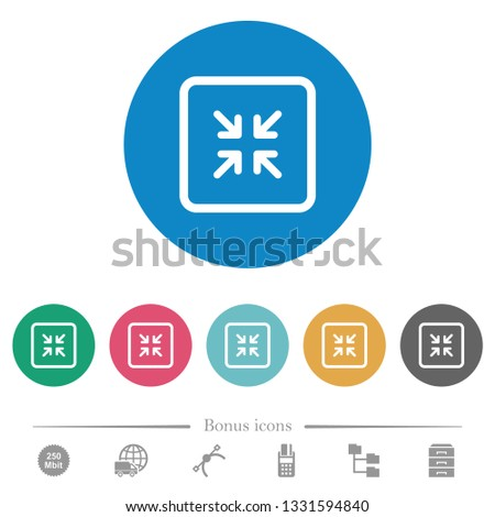 Shrink object flat white icons on round color backgrounds. 6 bonus icons included.