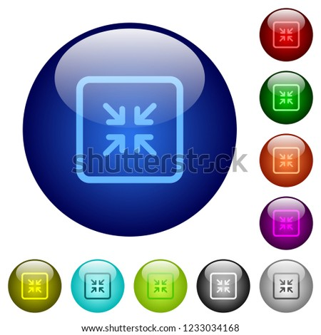 Shrink object icons on round color glass buttons