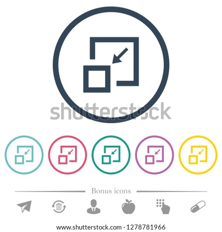 Shrink window flat color icons in round outlines. 6 bonus icons included.