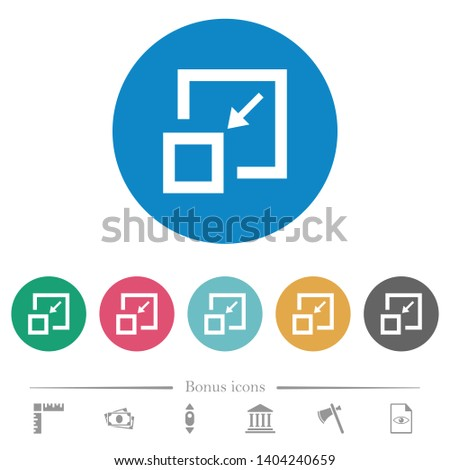 Shrink window flat white icons on round color backgrounds. 6 bonus icons included.
