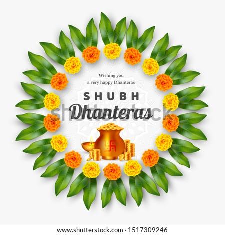 Shubh Dhanteras holiday composition for Diwali festival celebration. Indian pots with coins and diya, floral wreath. Vector illustration.