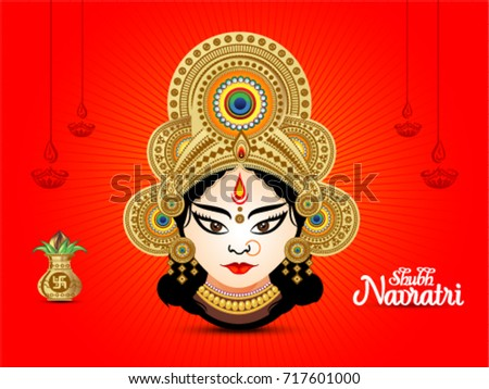 shubh navratri artistic text red background with goddess durga, poster or banner of indian festival navratri celebration. Stock photo ©