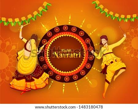 Shubh Navratri festival celebration poster or banner design with illustration of man and woman dancing with dandiya stick on orange floral background.