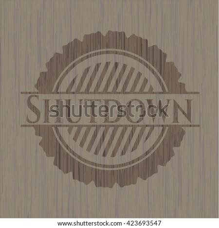 Shutdown realistic wooden emblem