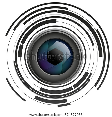 Shutter apertures on abstract background, camera objective, lens, vector illustration