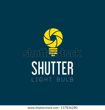 Shutter light bulb abstract logo template