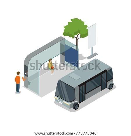 Shuttle bus stop isometric 3D icon. City public transport, modern town waiting station, urban and countryside traffic concept with vehicle vector illustration.