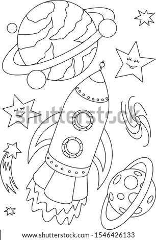 Shuttle coloring page. Space ship and planets sketch. Cosmos coloring page