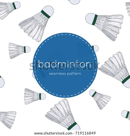 shuttlecocks - badminton concept hand draw sketch seamless pattern vector.
