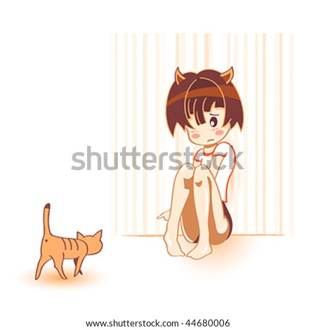 kawaii anime girl. cat in kawaii anime style