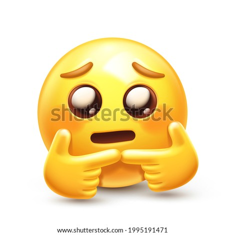 Shy emoji. Nervous emoticon twiddling fingers together. Bashful yellow face with glossy eyes, flushed cheeks and 'two fingers touching' gesture 3D stylized vector icon Stockfoto ©