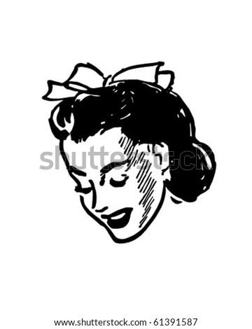 Shy Girl - Retro Clip Art