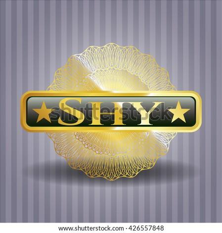 Shy golden badge or emblem