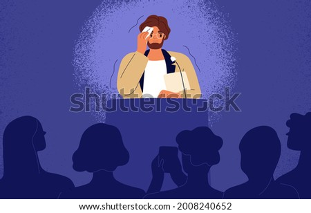 Shy man sweating, feeling fear and anxiety during public speaking. Nervous stressed speaker behind tribune. Fright of audience and stage speech concept. Flat vector illustration of frightened person Stock photo ©
