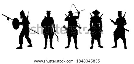 Siam warrior troops silhouette vector on white