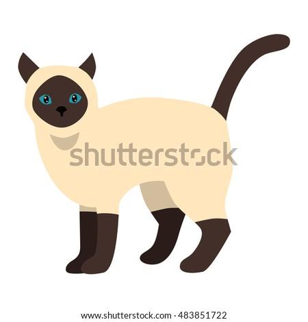 Siamese cat cartoon style vector silhouette #483851722