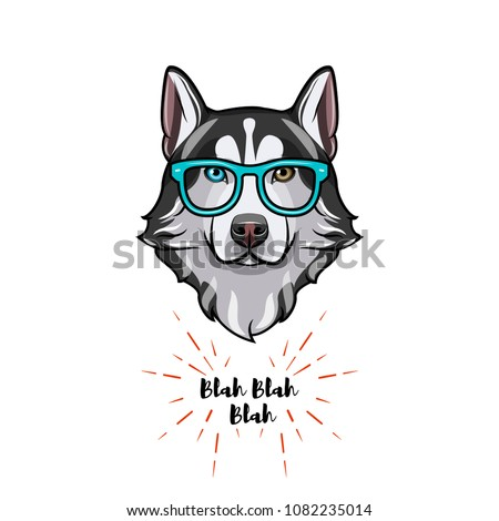 Siberian Husky geek. Smart glasses. Dog nerd. Husky portrait. Vector illustration.