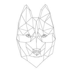 Siberian Husky polygonal geometric vector icon