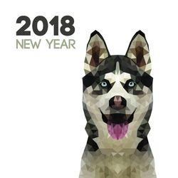 Siberian Husky Triangle dog. Polygon new year dog symbol