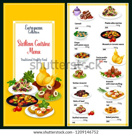 Sicilian cuisine traditional food menu. Vector healthy cannoli, pasta alla norma or chops pesto sauce and mussels in tomato sauce, caponata or cachocavallo with arancini, scaccia or stuffed tomatoes
