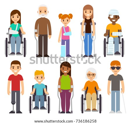 Sick and disabled characters set. Trauma and injury, people in wheelchairs, children and seniors. Healthcare vector illustration.