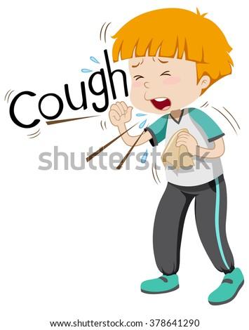 Sick boy coughing hard illustration