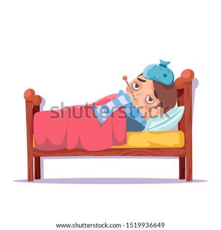 Sick boy lying in bed ill cold flu disease illness virus cartoon male character vector design illustration