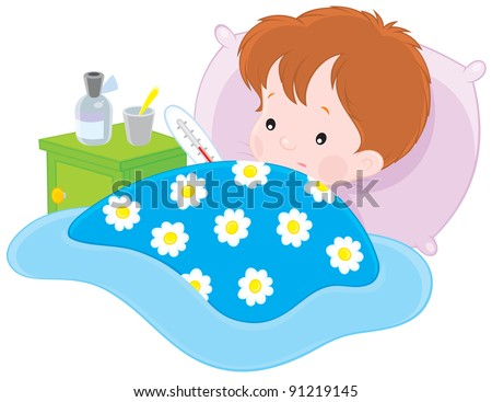 sick boy lying with a thermometer in a bed
