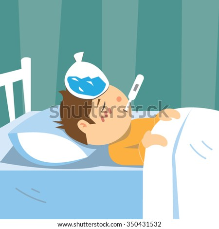 Vector Images Illustrations And Cliparts Sick Child Boy Lying On