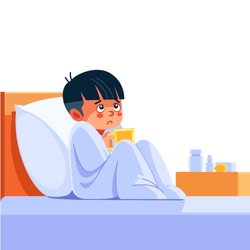 Sick child with seasonal infections, flu, allergy lying in bed. Sick boy covered with a blanket lying in bed with high fever and a flu, resting. Coronavirus. Quarantine. Cartoon vector illustration