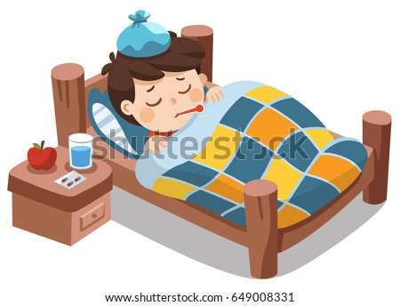 sick cute boy sleep in bed with