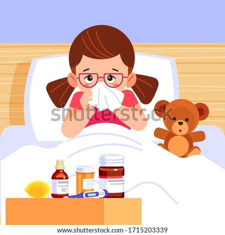 Sick cute girl blowing her nose and covering it with handkerchief. Small ill sad child with a flu, sneezing. There are medicines and a thermometer by the bed. Cartoon style vector illustration.
