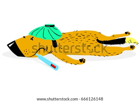 Sick dog. The aching sad dog lies with the thermometer. Vector illustration with cute animal character in disease