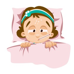 Sick girl lying in bed with thermometer in mouth. Little girl covered in blanket measuring temperature. Sick child sweating from fever. Children illness and treatment isolated vector illustration