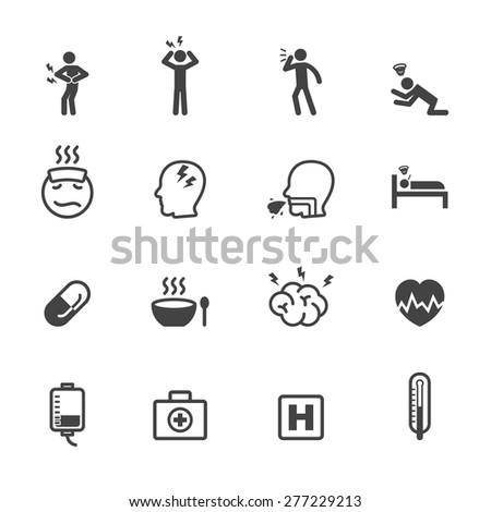 Stock Vector Sick Icons Mono Vector Symbols