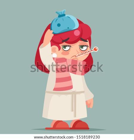 Sick ill girl cold virus flu disease female illness medicine woman infection cartoon design character vector illustration