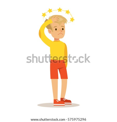 Sick Kid With Concussion And Stars Before Eyes Feeling Unwell Suffering From Injury Needing Healthcare Medical Help Cartoon Character