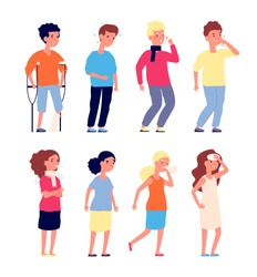 Sick kids. Sickness children, illness flu virus symptoms. Boys and girls colds and toothache, nausea and headache. Vector characters set