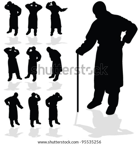 sick man black silhouette on white background