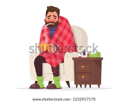 Sick man. Flu, viral disease. Vector illustration in cartoon style