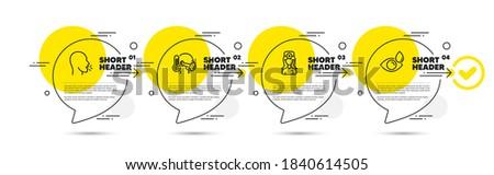 Sick man, Oculist doctor and Cough line icons set. Timeline infograph speech bubbles. Eye drops sign. Epidemic protection, Optometrist, Coronavirus symptom. Check vision. Medical set. Vector Zdjęcia stock ©