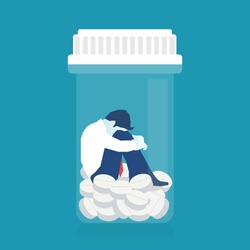 Sick patient Man in depression drowning in medications, conceptual illustration of drug addiction. Eps 10 Vector illustration, horizontal image, Minimalist white blue flat design.