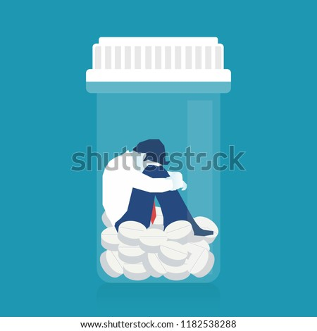 Sick patient Man in depression drowning in medications, conceptual illustration of drug addiction. Eps 10 Vector illustration, horizontal image, Minimalist white blue flat design.