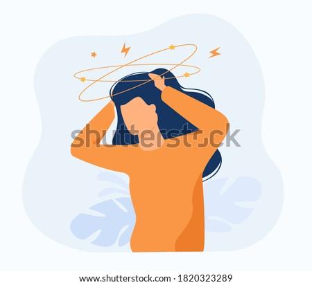 Sick person suffering from vertigo, feeling confused, dizzy and head ache. Flat vector illustration for stress, sickness symptoms, migraine, hangover concept Сток-фото ©