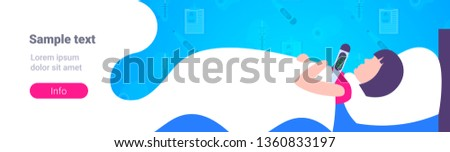 sick woman with flu virus lying covered blanket in bed ill girl measuring temperature with thermometer illness concept flat horizontal copy space