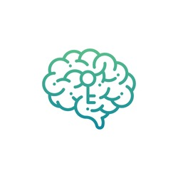 Side Brain logo icon with key symbol, Secrets of the mind concept design illustration green and blue gradients color isolated on white background with copy space, vector eps 10