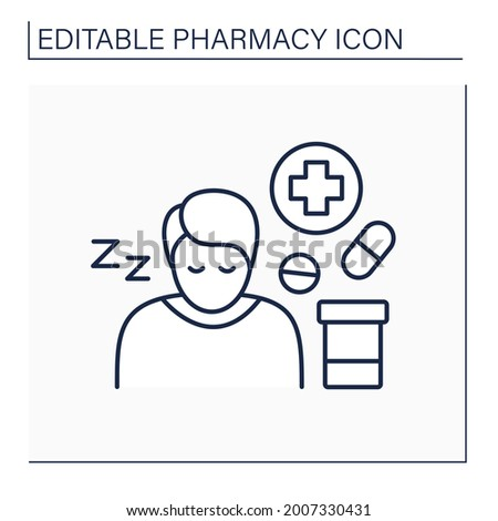 Side effects line icon. Secondary drugs adverse effect. Side reaction on pills. Drowsiness. Pharmacy concept. Isolated vector illustration. Editable stroke Stock photo ©
