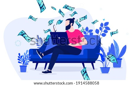 Side hustle - Man sitting in sofa at home working on his second income online. Money making hobby concept. Vector illustration. Foto stock ©