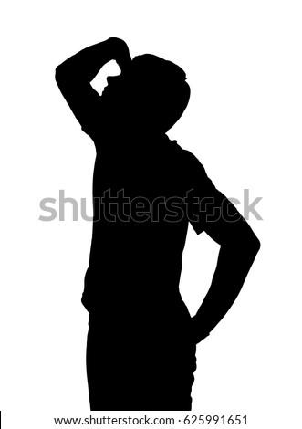Side profile portrait silhouette of a teenage boy looking upward with hand shielding eyes