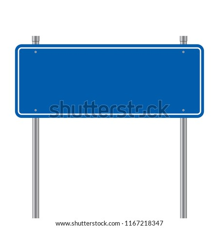 Side road blank blue sign. 3d illustration isolated on white background